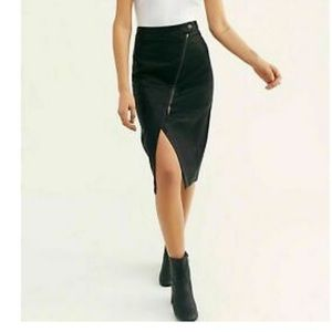 New black Free People Wrapped Up Vegan Midi Skirt